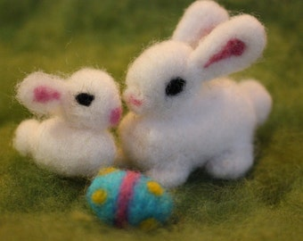 Easter Bunny with Baby Bunny, Easter Egg, Needle Felted Bunny, Easter Decoration, Waldorf Inspired