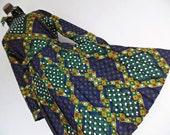ELKA COUTURE . Cubist Mod . L XL .  Op Art Geometric Graphics Print Midi Dress Pleated Skirt Matching Belt
