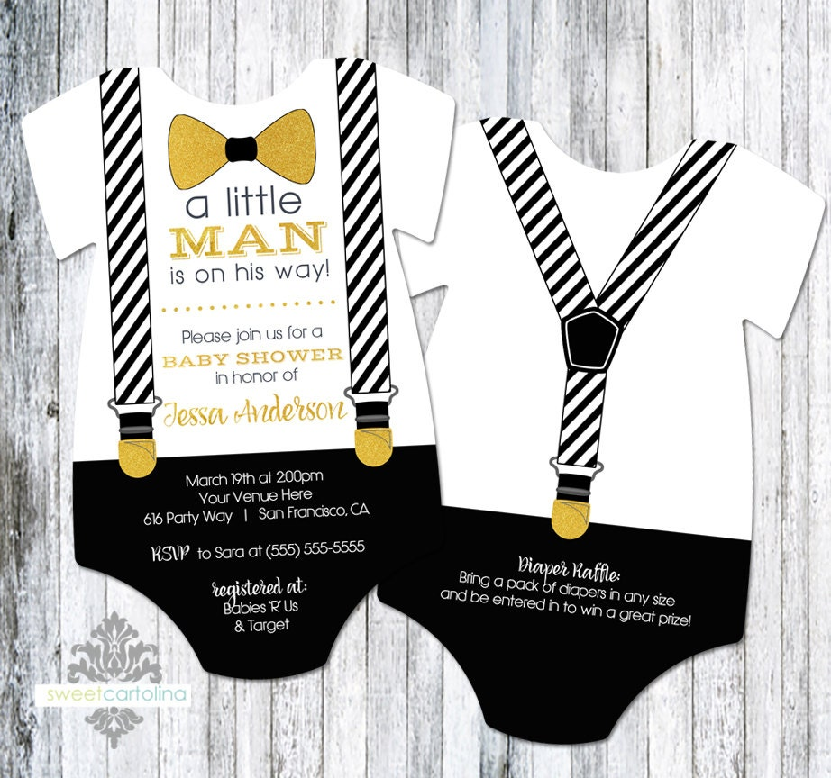 20 Little Man Bow Tie And Suspenders Baby Shower Invitation