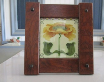 """Arts & Crafts 6"""" X 6""""  Framed Tile Handmade Handcrafted Mission Style Quartersawn White Oak Mission Style"""