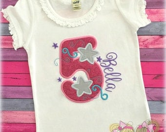 Birthday Number with Stars- Pink Sparkle- Silver Stars- Custom birthday shirt