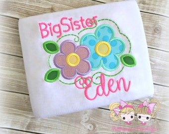 Big Sister Flower Shirt- Custom monogrammed shirt- Big Sister to Be- embroidery