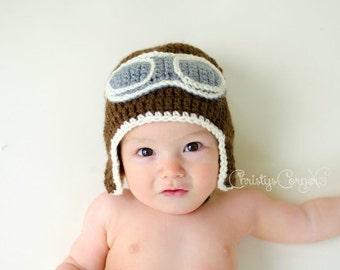 Crochet Aviator Hat, Newborn Aviator Hat, Baby Pilot Hat, Crochet Pilot Hat,  Aviator Goggles, Aviator Hat, Pilot Hat, Aviator Photo Prop
