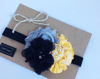 black yellow gray girl headband baby girl headband baby headbands flower girls women headbands vintage inspired, frayed flower