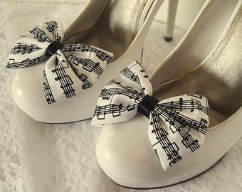 Musical Notes Shoe Clips,  Shoe Clips, Womens Accessories, Music Gift, Black White Shoe Clips, Music, Musical, Bow Shoe Clips, ShoeClipsOnly