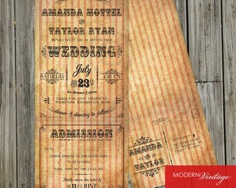 Circus Themed Formal Wedding Invitation with Perforated RSVP Postcard