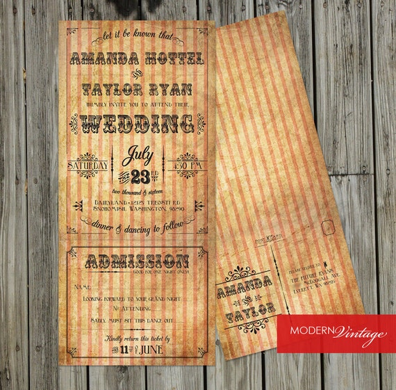 Circus Themed Formal Wedding Invitation With Perforated RSVP