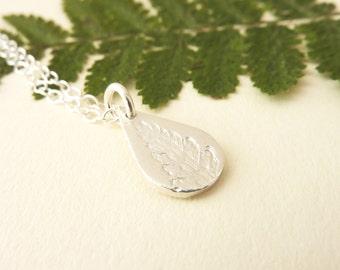 Tear Drop Silver Fern Leaf Pattern Pendant - Fine Silver Fern Leaf Necklace, Free UK Postage