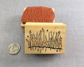 Pond Grass Rubber Stamp