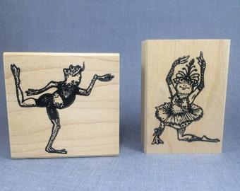 Ballerina Frog Dancers  Rubber Stamp Set