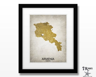 Armenia Map Art Print - Home Is Where The Heart Is Love Map - Original Custom Map Art Print Available in Multiple Size and Color Options