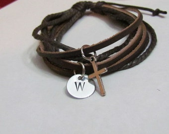 1st Communion Boys Leather Bracelet with initial and Silver cross//Leather Bracelet//Confirmation Boys//Gift boys//Ready to Ship