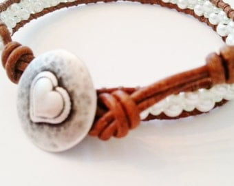 Single wrap leather bracelet, seed beads wrap bracelet, white leather wrap bracelet