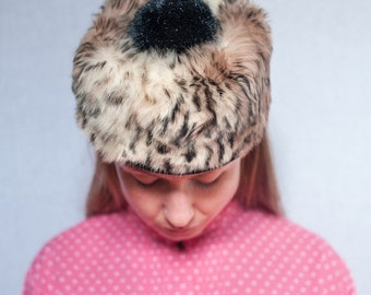 ON SALE Vintage Norwegian Fur Pillbox Fascinator Hat with Pom Pom