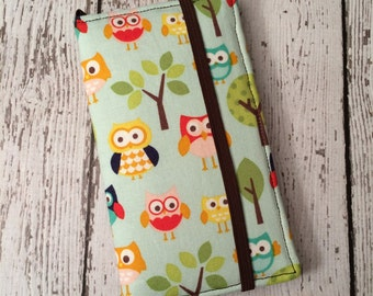 Samsung Galaxy S3, S4, S5, S6 wallet with removable gel case - owl print