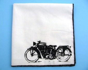 Hankie- VINTAGE HARLEY MOTORCYCLE shown on super soft white cotton hanky-or choose from any solid color or plaids shown in pics