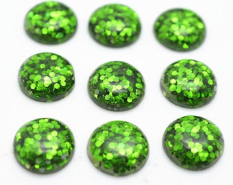 30pcs 12mm Wholesale Resin Cabochons Green Color Resin Cabochon Glitter Resin Cabochons 301-3