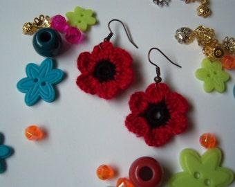 Red and Black Crochet Flower Earrings. Handmade Crochet Earrings.