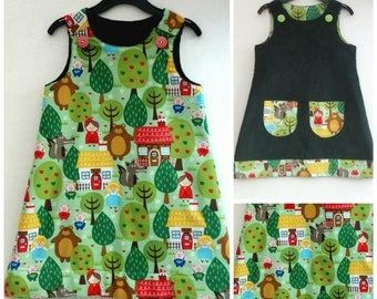 Girls Little Red Riding Hood Fairytale Reversible Dress, A line, Pinafore, Pinny, Jumper, Green Corduroy Size 5-6yrs
