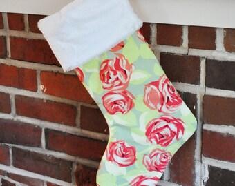READY TO SHIP Christmas Stocking Tangerine Tumble Roses no.303