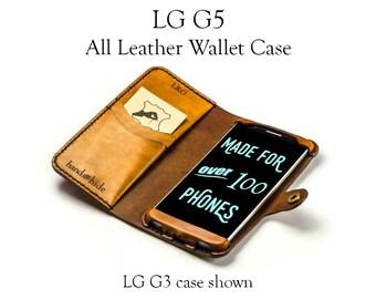 LG G5 Leather Wallet Case - No Plastic - Free Inscription