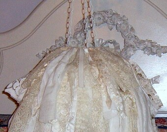 RESERVED....Lace Chandelier,, Faux Chandelier,Wedding Chandelier, Boho, Bridal Shower Decor, Garden Tea Party, Wedding Decor