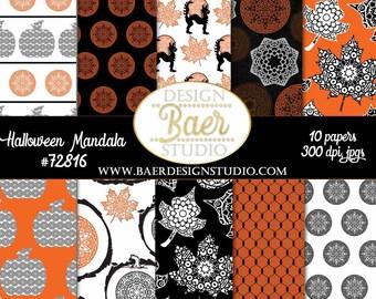 HALLOWEEN DIGITAL PAPER:Halloween Mandala Digital Paper, Black/Orange Digital Paper, Pumpkin Digital Paper, Black Cat Digital Paper, #70516
