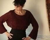 Cropped Sweater Chunky Dance Sweater Luxury Bordeaux Alpaca wool