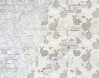 SWANKY PRINTS ORIGINAL 7ft x 7ft Easter Damask Brick Wall / Vinyl Photography Backdrop / Spring