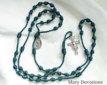 Teal Twine Sorrowful Mother Rosary