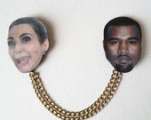Kim Kardashian and Kanye west collar clip, illustrated jewelry, rebel brooch, celebrity brooch, collar pin, collar jewelry