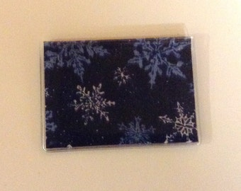 Mother's Day Gift, Blue Snowflake  Handmade Debit Card Holder, Mini wallet, Credit card holder