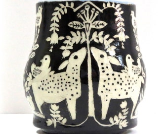 Sgraffito MUG Hand Built, 2 Deer or Spotted Fawns,  Trees Birds Bunnies, Folk Lore Inspired & Hand Carved
