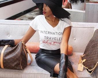 International Traveler Check My Passport Vneck shirt WHITE