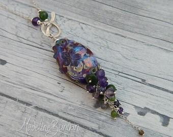 Rainbow garden & gemstone necklace, sterling silver, amethyst, jade