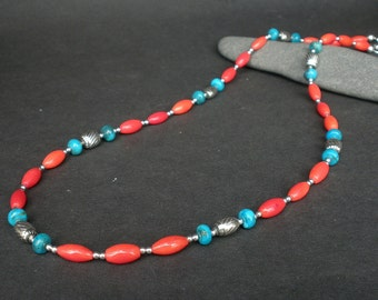 """Genuine Turquoise and Red Coral Necklace 20"""",  925 Bali Sterling Silver, Boho Style Necklace, Denim Necklace"""