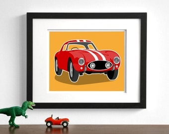 Children's art - Vintage sports car Ferrari drawing - pick your colors - boys nursery art