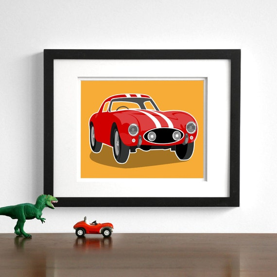 Children's art - Vintage sports car Ferrari drawing - pick your colors - boys nursery art