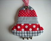 Fabric Christmas ornaments Christmas Bell red white and grey