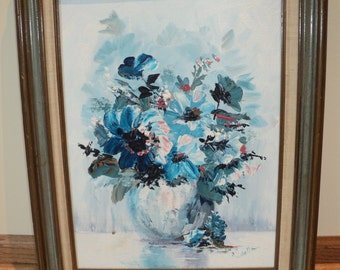 Original Floral Still Life  Oil Painting of a Bouquet of Blue Roses, Mid Century Modern Abstract Art Style style signed by The Artist