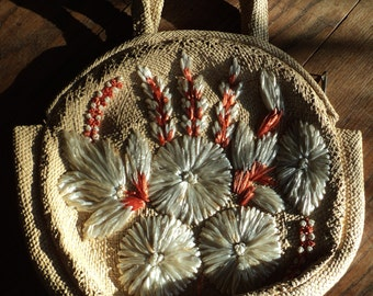 Vintage Well Woven Straw Handbag with Hand Sewn Embroidered Orange and White Flowers sewn with Raffia  in great condition, hardly used