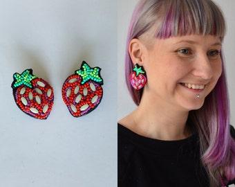 """Strawberry earrings, vegan earrings, glow in dark earrings, rave earrings, flirty oversized earrings, oversized fruit, Earrings """"Strawberry"""""""