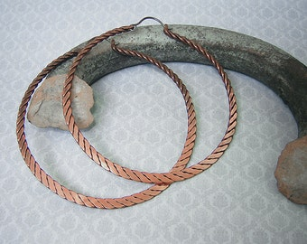 Twisted  Hammered Copper Hoop Earrings Big Earrings Rustic Jewelry Large Hoop Earrings Large Hoops Metalwork Jewelry