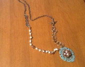 Romantic, Mori Girl, Vintage looking turquoise and gold bird nest necklace