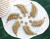 Raw Brass Leaves, 28 x 14mm Vintage Style Stampings, DIY Wedding Brass Tiara Headpiece Wreath Supplies, Made in USA ~ STA-252