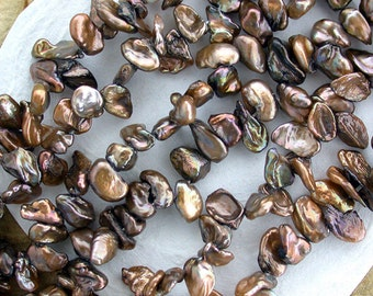 "Sale Beads Destash Beads, 1 ~ 16"" Strand Mocha Brown Iris Keishi Fresh Water Pearls, Destash Pearls, Destash Supplies DS-527"
