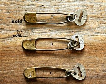 vintage brass key tag safety pin
