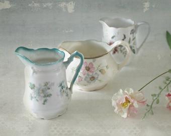 vintage porcelain floral creamers -- lot of 3---instant collection, porcelain pitchers, cottage decor, romantic decor