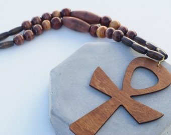 Beaded Mens Necklace With Oversized Ankh Pendant  Afrocentric Jewelry