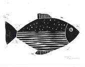 Fish Print - Nautical and Coastal Decor - Abstract Fish Illustration Block Print - Linocut Block Print - Original or Digital Print